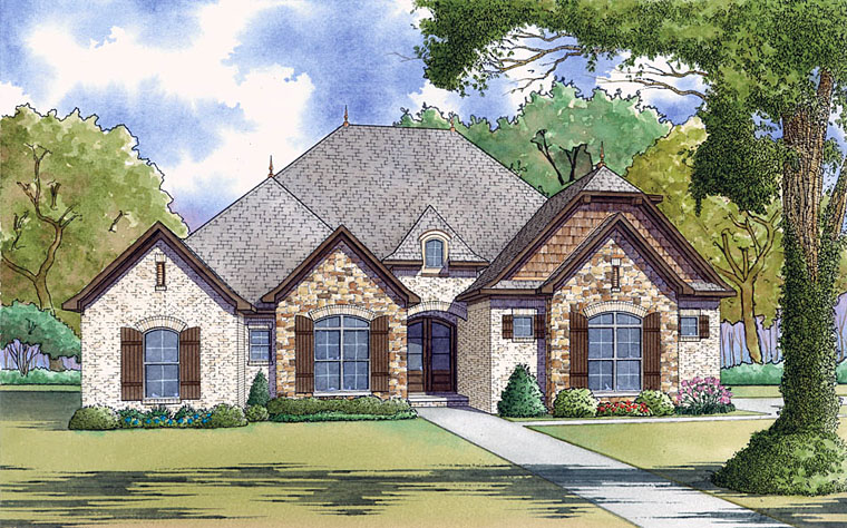 European, Traditional House Plan 82456 with 4 Beds, 3 Baths, 2 Car Garage Elevation