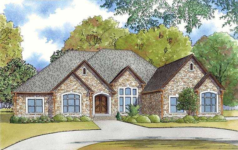 European, Southern, Traditional House Plan 82460 with 3 Beds, 4 Baths, 3 Car Garage Elevation