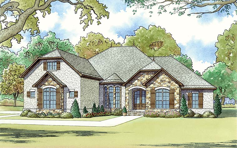 European, French Country, Traditional House Plan 82463 with 4 Beds, 4 Baths, 2 Car Garage Elevation