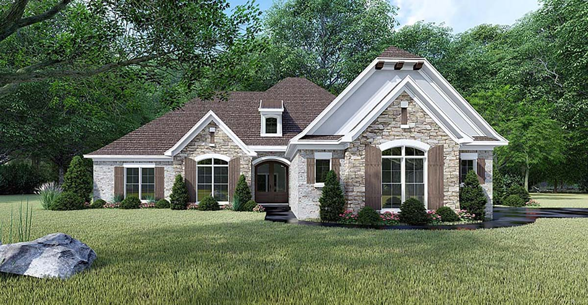 European, French Country, Traditional House Plan 82465 with 4 Beds, 3 Baths, 3 Car Garage Front Elevation