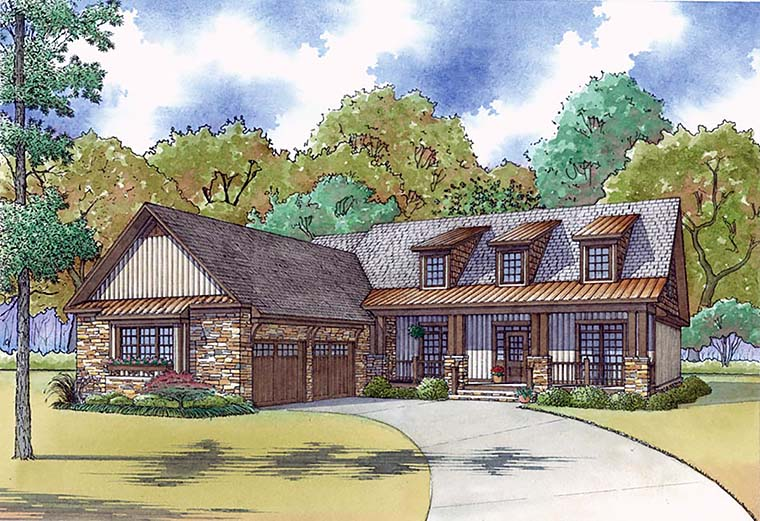 Country House Plan 82467 with 4 Beds, 4 Baths, 2 Car Garage Front Elevation