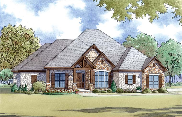 Bungalow, Craftsman, French Country, Traditional House Plan 82477 with 4 Beds, 3 Baths, 3 Car Garage Front Elevation