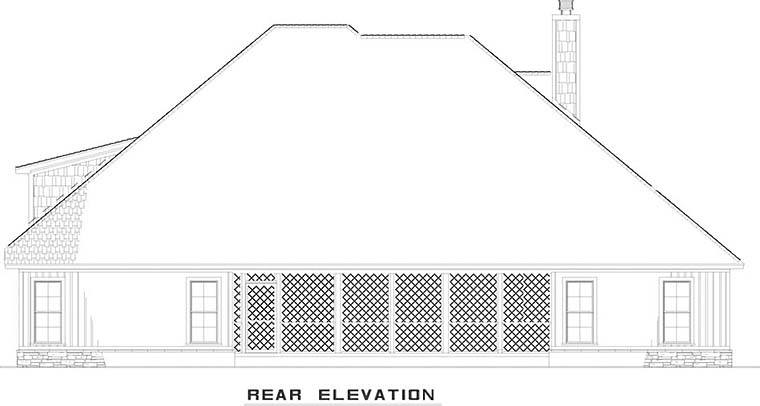 European, Traditional House Plan 82486 with 4 Beds, 3 Baths, 2 Car Garage Rear Elevation