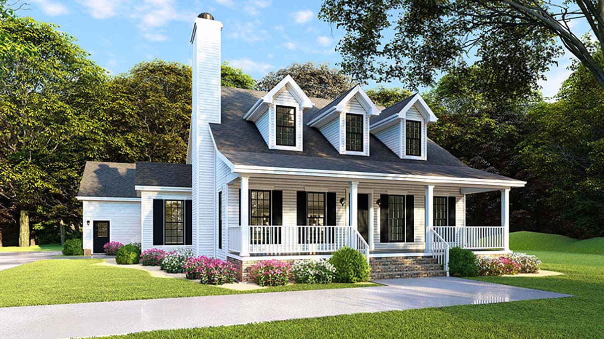 Country, Farmhouse, Southern House Plan 82500 with 4 Beds, 2 Baths, 2 Car Garage Front Elevation