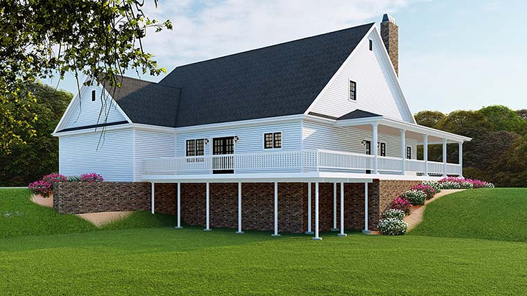 Country, Farmhouse, Southern, Traditional House Plan 82510 with 3 Beds, 3 Baths, 2 Car Garage Rear Elevation