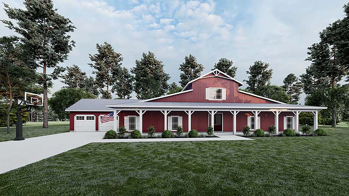 Country, Farmhouse, Southern House Plan 82515 with 5 Beds, 4 Baths, 2 Car Garage Elevation