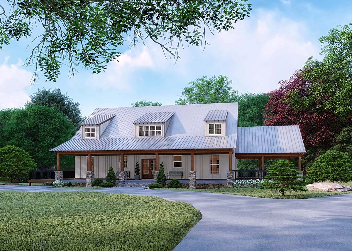 Farmhouse House Plan 82526 with 3 Beds, 4 Baths, 2 Car Garage Elevation
