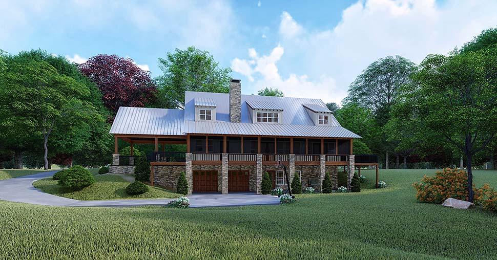 Farmhouse House Plan 82526 with 3 Beds, 4 Baths, 2 Car Garage Rear Elevation