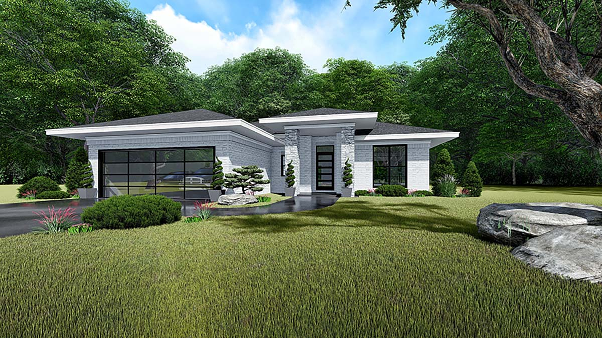 Contemporary, Prairie House Plan 82535 with 3 Beds, 2 Baths, 2 Car Garage Front Elevation
