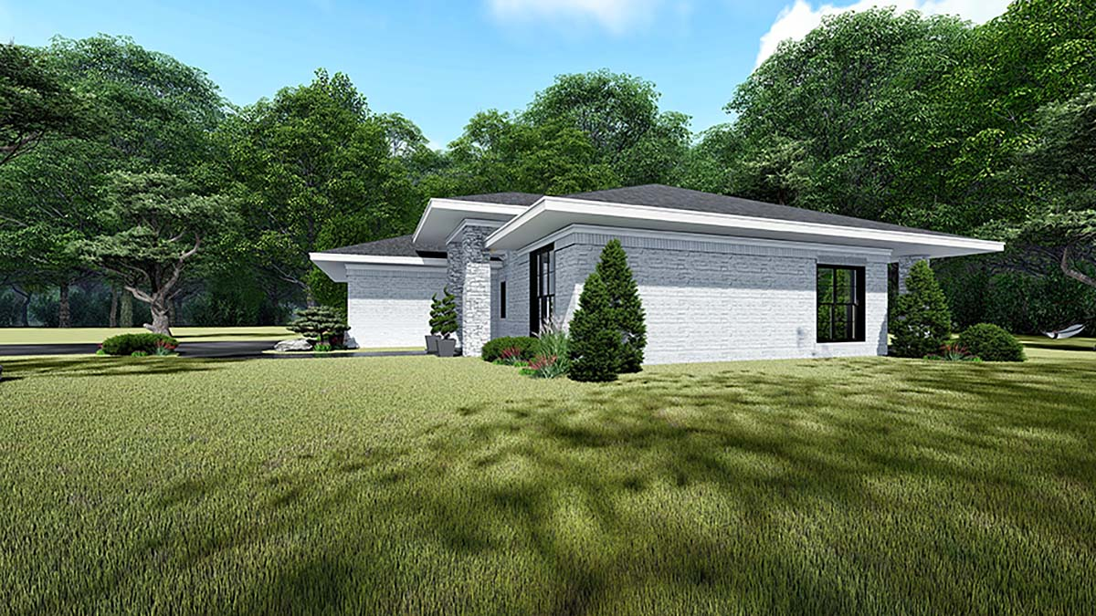 Contemporary, Prairie House Plan 82535 with 3 Beds, 2 Baths, 2 Car Garage Picture 1