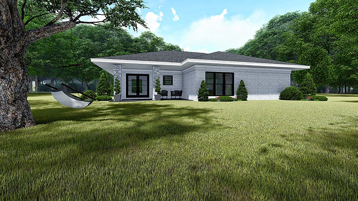 Contemporary, Mediterranean, Modern House Plan 82535 with 3 Beds, 2 Baths, 2 Car Garage Rear Elevation