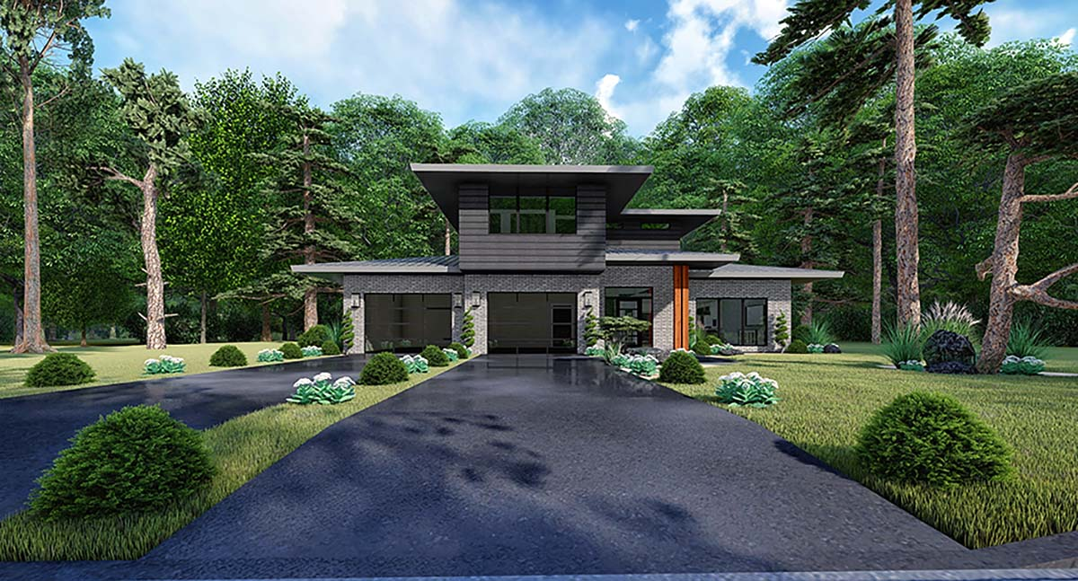 Contemporary, Mediterranean, Modern House Plan 82543 with 3 Beds, 2 Baths, 2 Car Garage Elevation