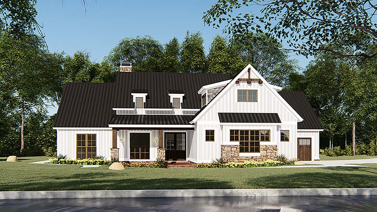 Bungalow, Craftsman, Farmhouse House Plan 82546 with 4 Beds, 3 Baths, 3 Car Garage Front Elevation