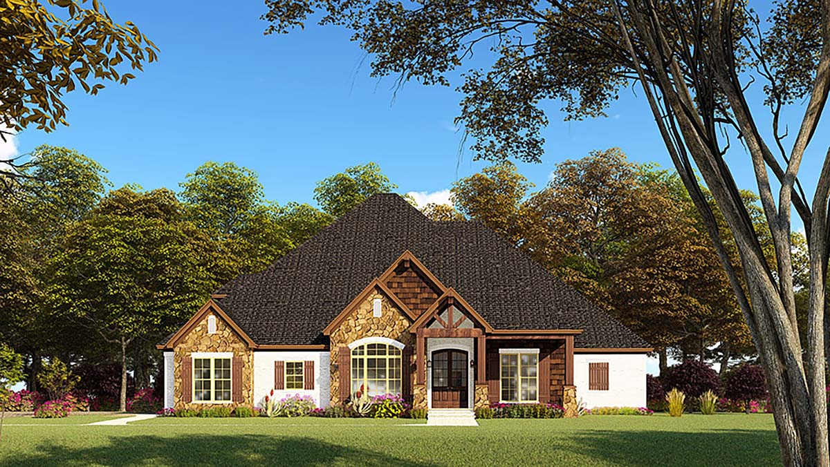 Bungalow, Craftsman, French Country, One-Story, Traditional House Plan 82552 with 4 Beds, 4 Baths, 2 Car Garage Front Elevation