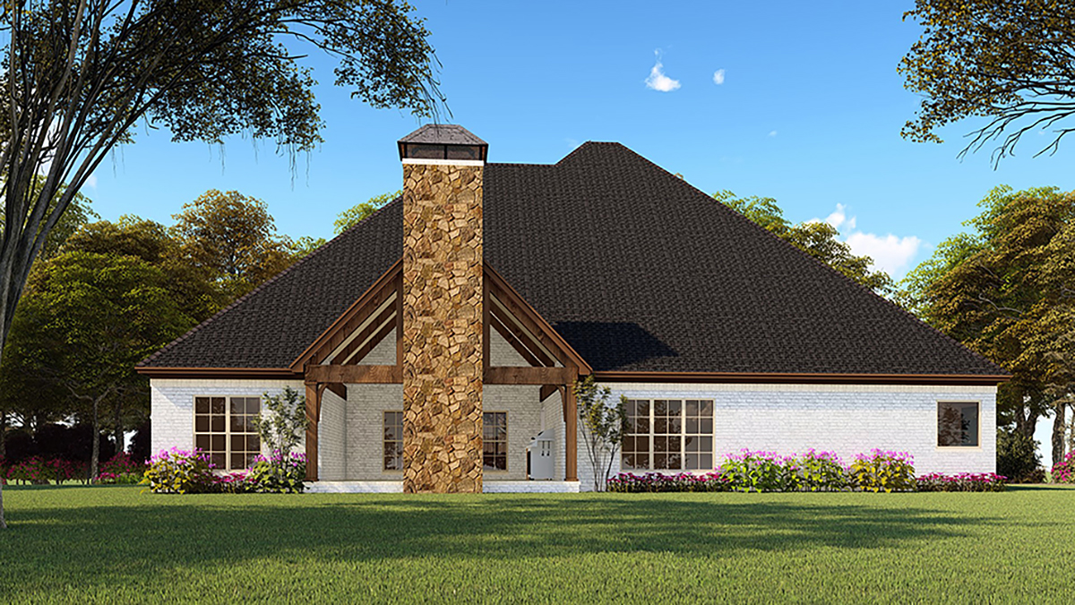 Bungalow, Craftsman, French Country, One-Story, Traditional House Plan 82552 with 4 Beds, 4 Baths, 2 Car Garage Rear Elevation