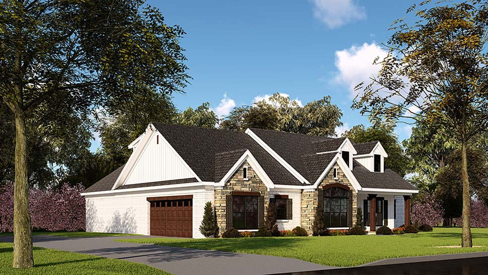 Farmhouse, One-Story, Ranch, Traditional House Plan 82555 with 3 Beds, 3 Baths, 2 Car Garage Picture 2
