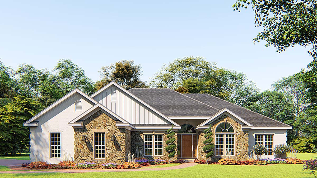 Bungalow, Craftsman, French Country, Traditional House Plan 82556 with 4 Beds, 3 Baths, 2 Car Garage Elevation