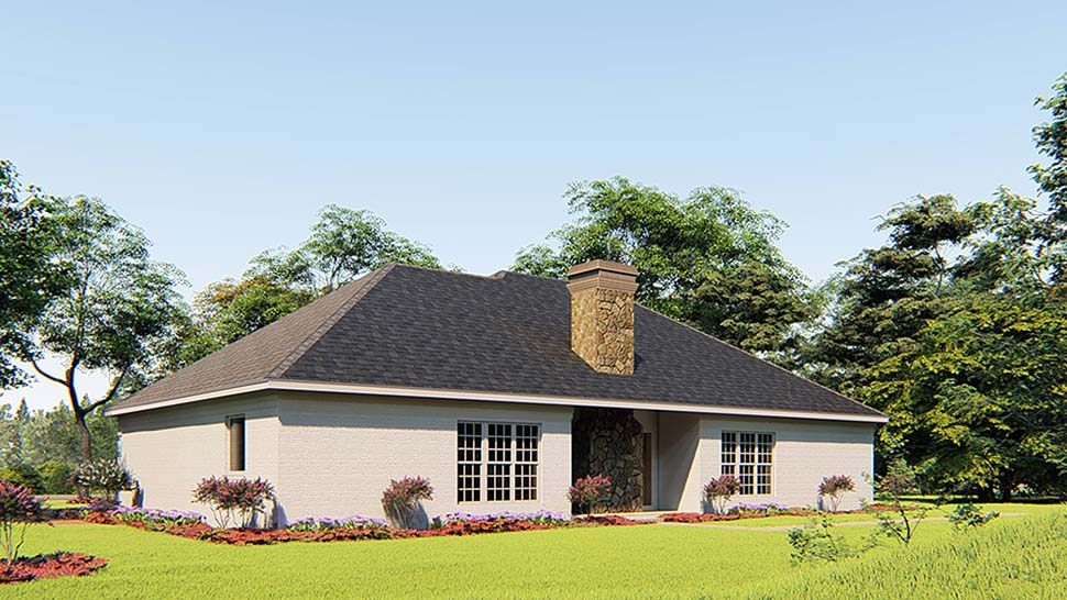 Bungalow, Craftsman, French Country, Traditional House Plan 82556 with 4 Beds, 3 Baths, 2 Car Garage Rear Elevation