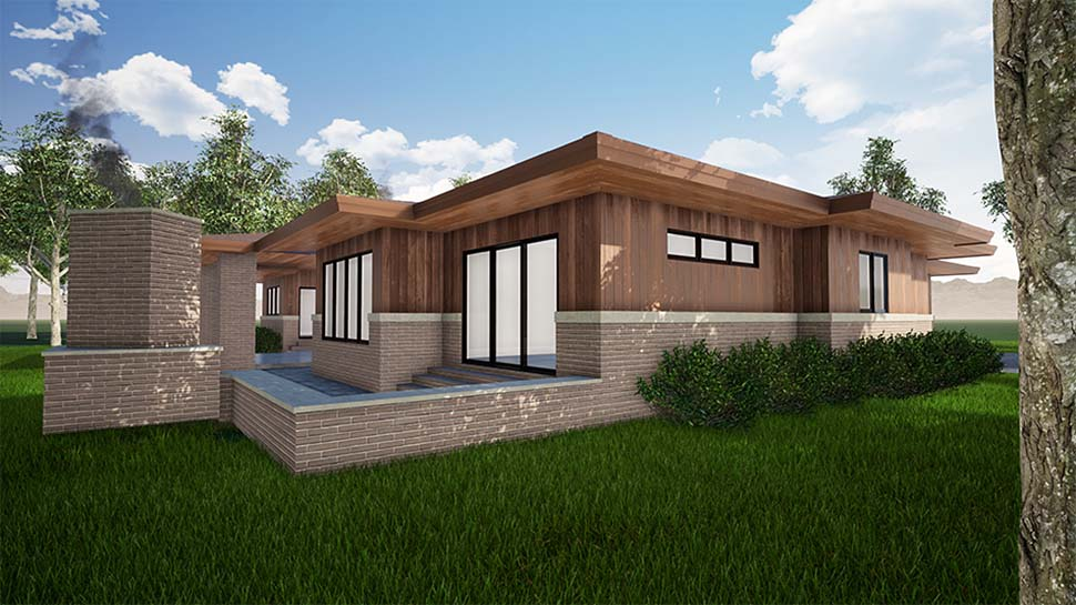 Contemporary, One-Story, Prairie House Plan 82559 with 3 Beds, 3 Baths, 2 Car Garage Picture 3