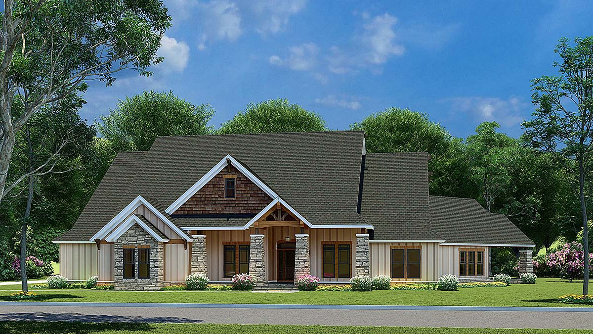 Bungalow, Craftsman House Plan 82565 with 3 Beds, 2 Baths, 3 Car Garage Elevation
