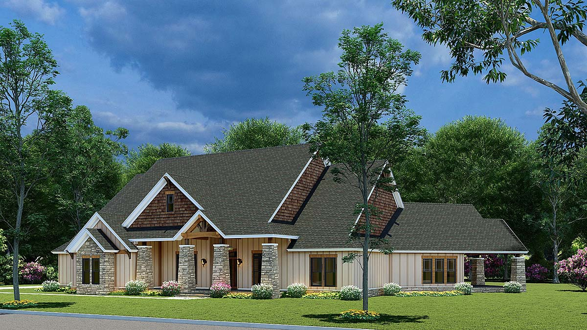 Bungalow, Craftsman House Plan 82565 with 3 Beds, 2 Baths, 3 Car Garage Picture 1
