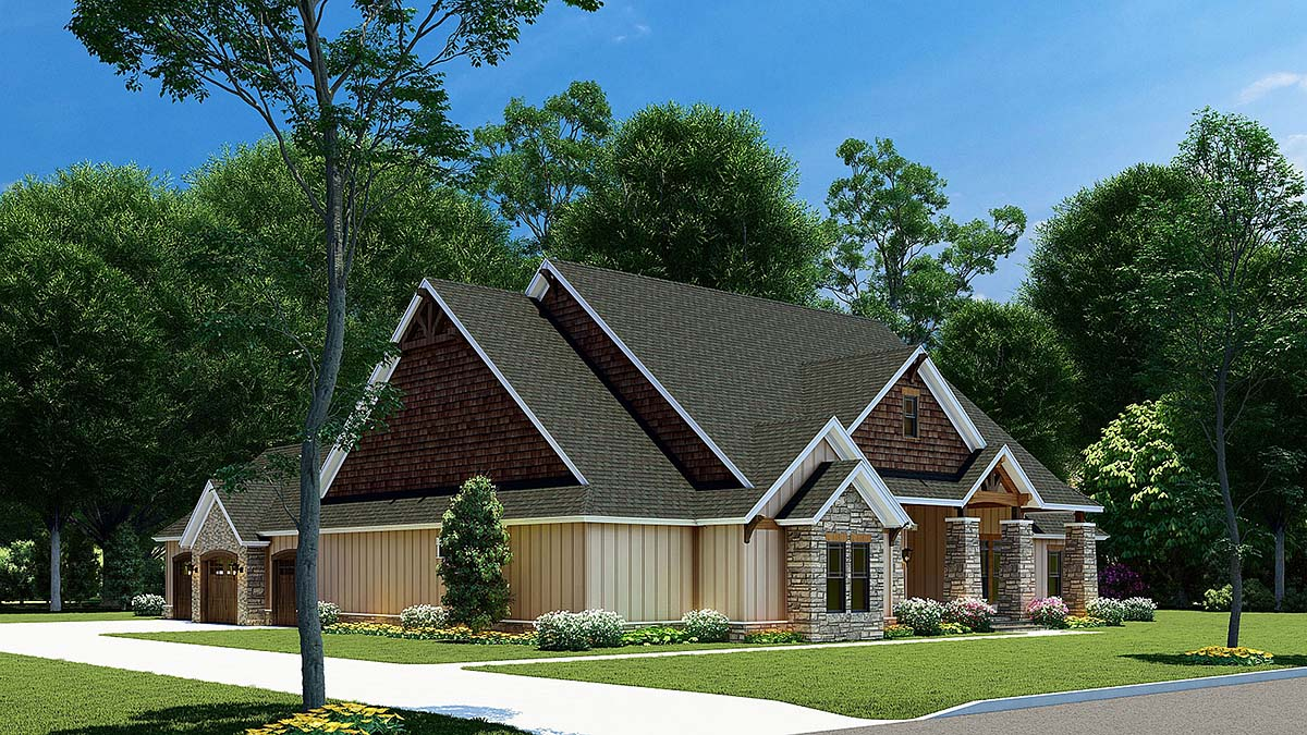 Bungalow, Craftsman House Plan 82565 with 3 Beds, 2 Baths, 3 Car Garage Picture 2