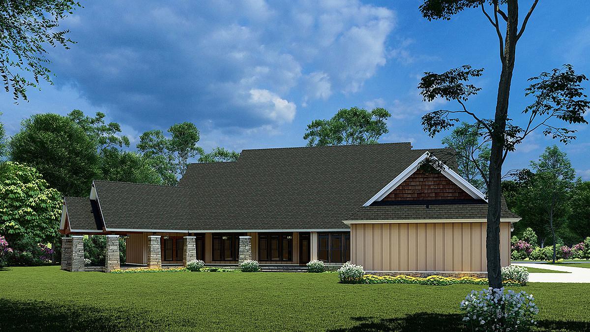 Bungalow, Craftsman House Plan 82565 with 3 Beds, 2 Baths, 3 Car Garage Rear Elevation