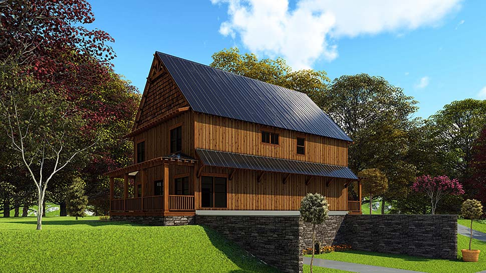 Bungalow, Cabin, Country, Craftsman House Plan 82566 with 5 Beds, 4 Baths Rear Elevation