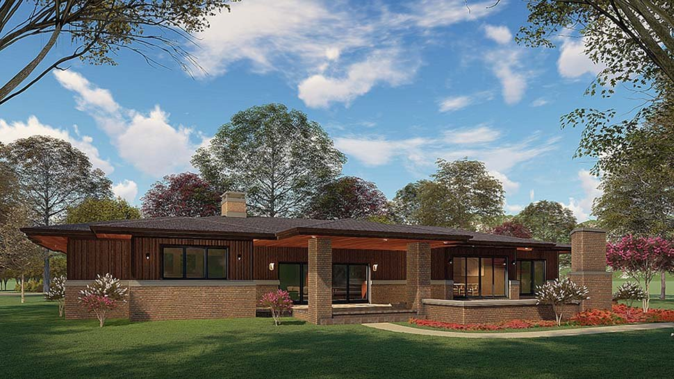 Contemporary, Modern, Prairie House Plan 82567 with 4 Beds, 4 Baths, 2 Car Garage Rear Elevation