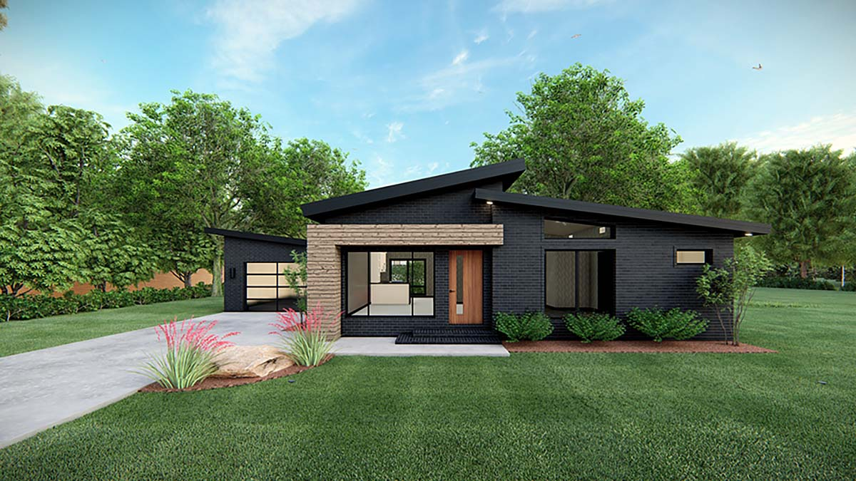 Modern House Plan 82569 with 3 Beds, 2 Baths, 1 Car Garage Front Elevation