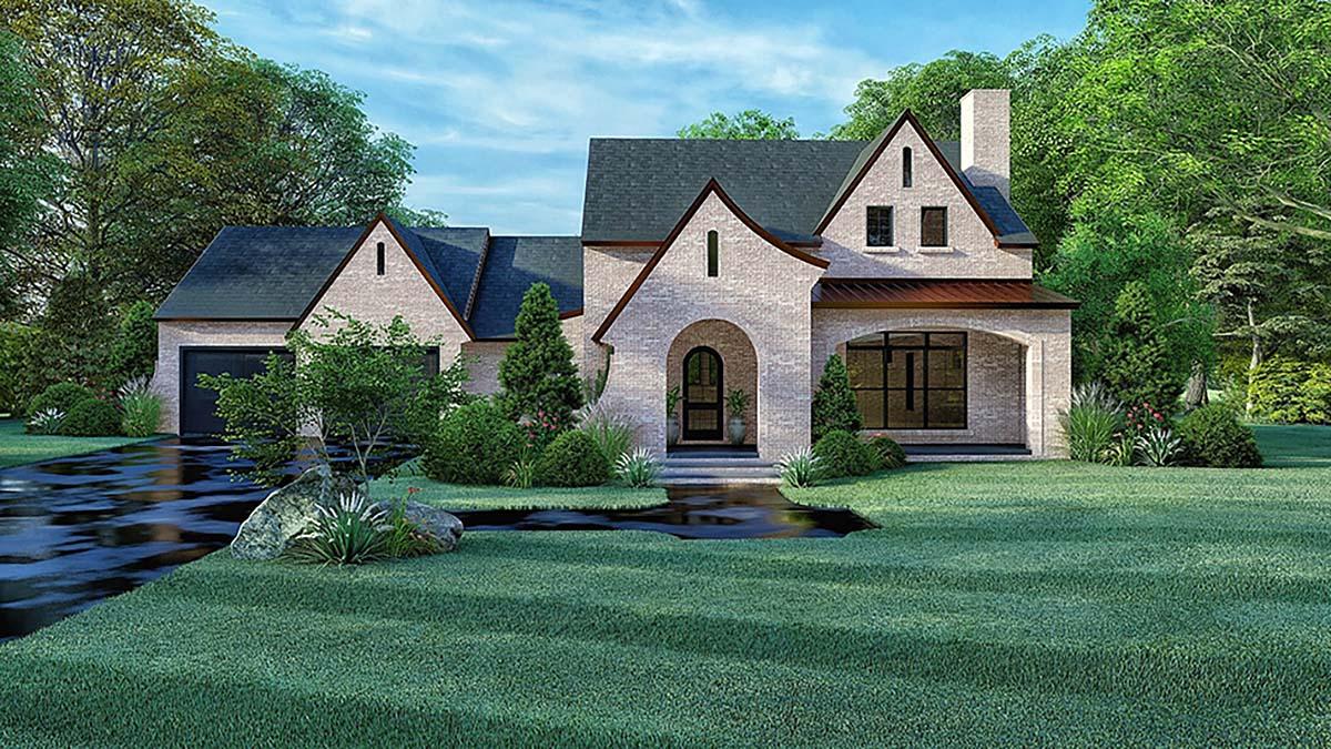 Cottage, European House Plan 82570 with 4 Beds, 3 Baths, 2 Car Garage Elevation