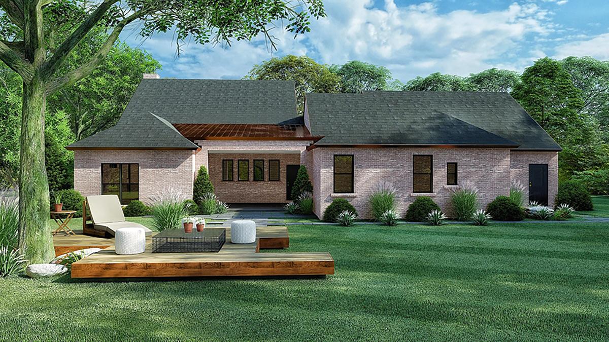 Cottage, European House Plan 82570 with 4 Beds, 3 Baths, 2 Car Garage Rear Elevation