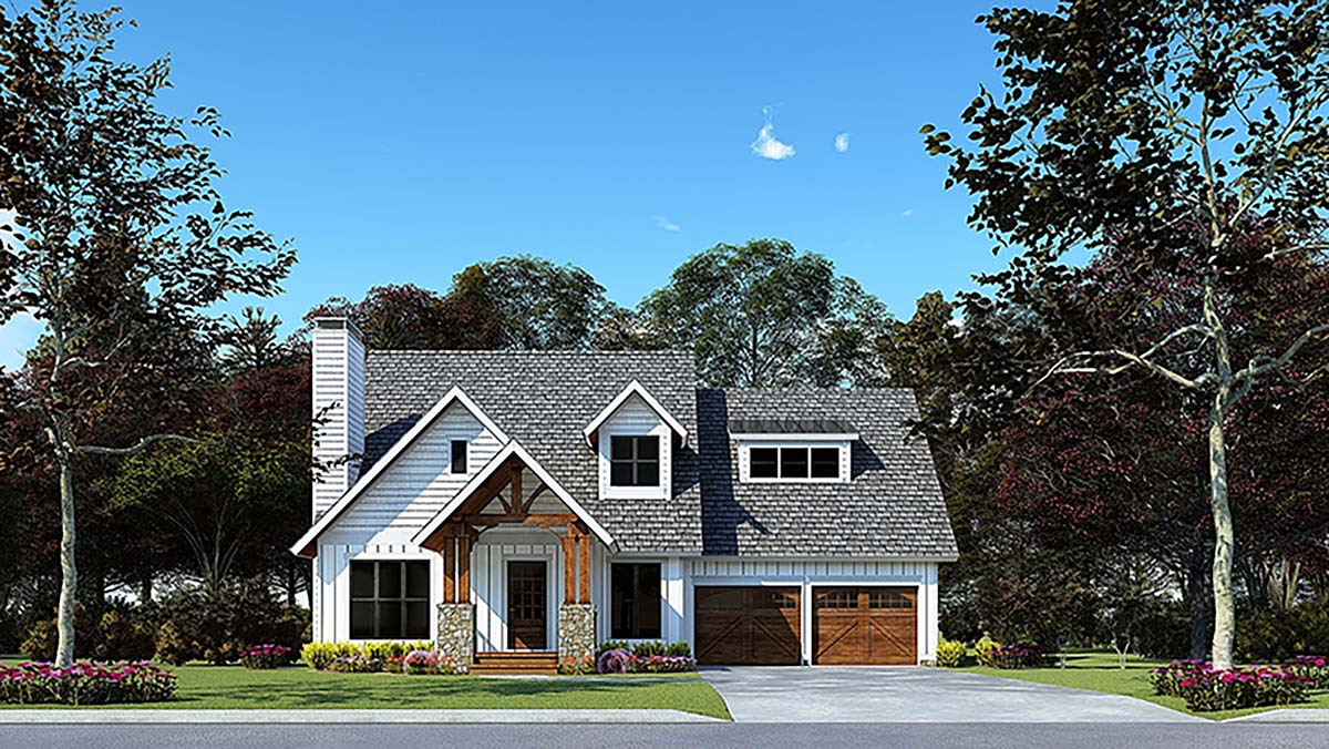 Bungalow, Craftsman House Plan 82572 with 3 Beds, 3 Baths, 2 Car Garage Elevation