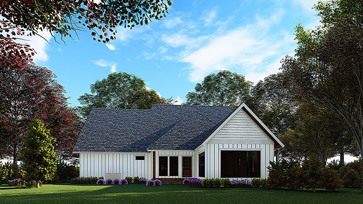 Bungalow, Craftsman House Plan 82572 with 3 Beds, 3 Baths, 2 Car Garage Rear Elevation