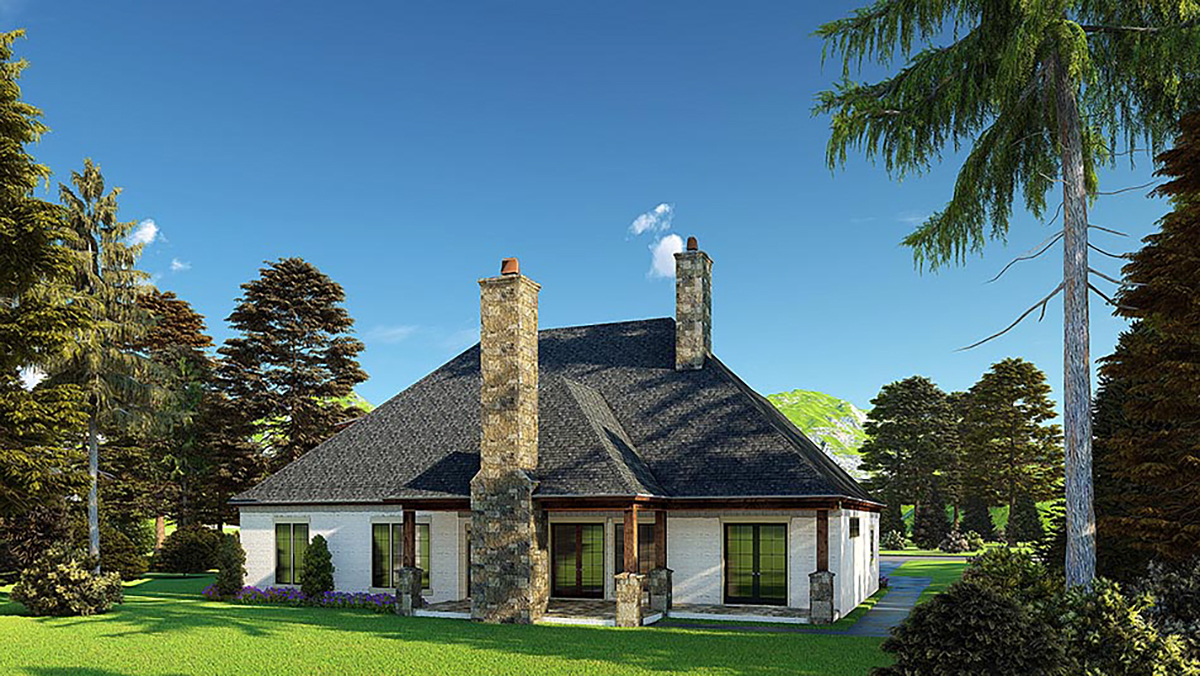 Bungalow, Craftsman, French Country House Plan 82574 with 4 Beds, 5 Baths, 3 Car Garage Rear Elevation
