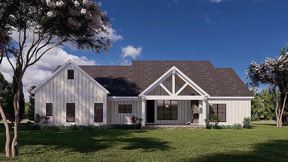 Bungalow, Craftsman, Farmhouse House Plan 82577 with 4 Beds, 3 Baths, 2 Car Garage Rear Elevation