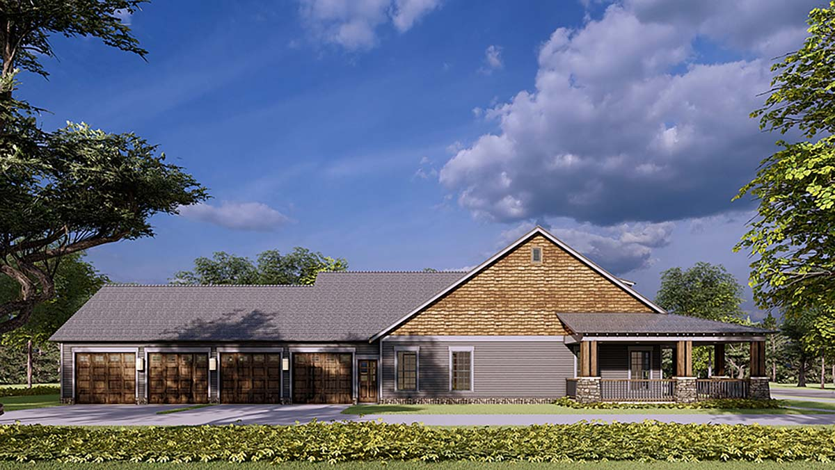 Bungalow, Country, Craftsman, Farmhouse House Plan 82578 with 2 Beds, 3 Baths, 4 Car Garage Picture 2