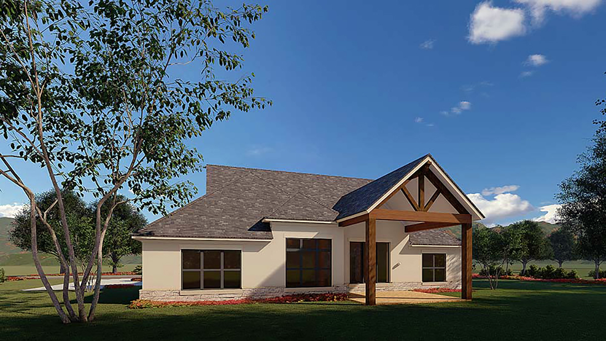 Traditional House Plan 82579 with 3 Beds, 2 Baths, 2 Car Garage Rear Elevation
