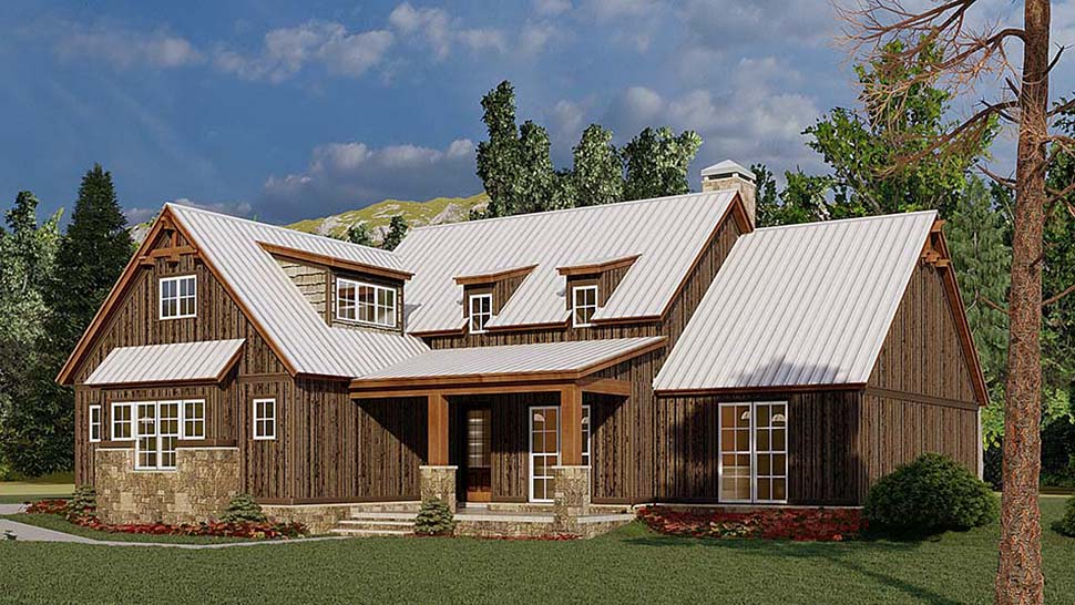 Bungalow, Craftsman, Farmhouse House Plan 82584 with 4 Beds, 3 Baths, 3 Car Garage Picture 1
