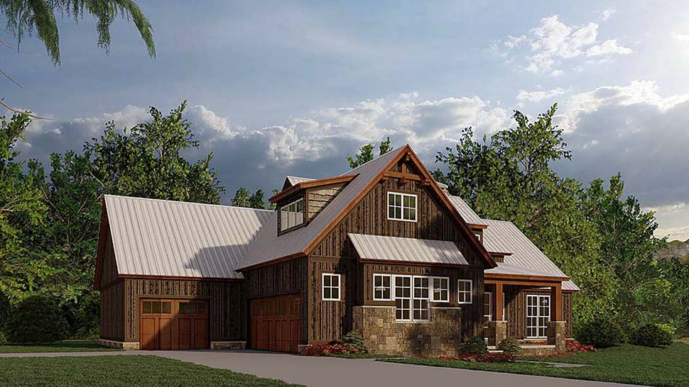 Bungalow, Craftsman, Farmhouse House Plan 82584 with 4 Beds, 3 Baths, 3 Car Garage Picture 2