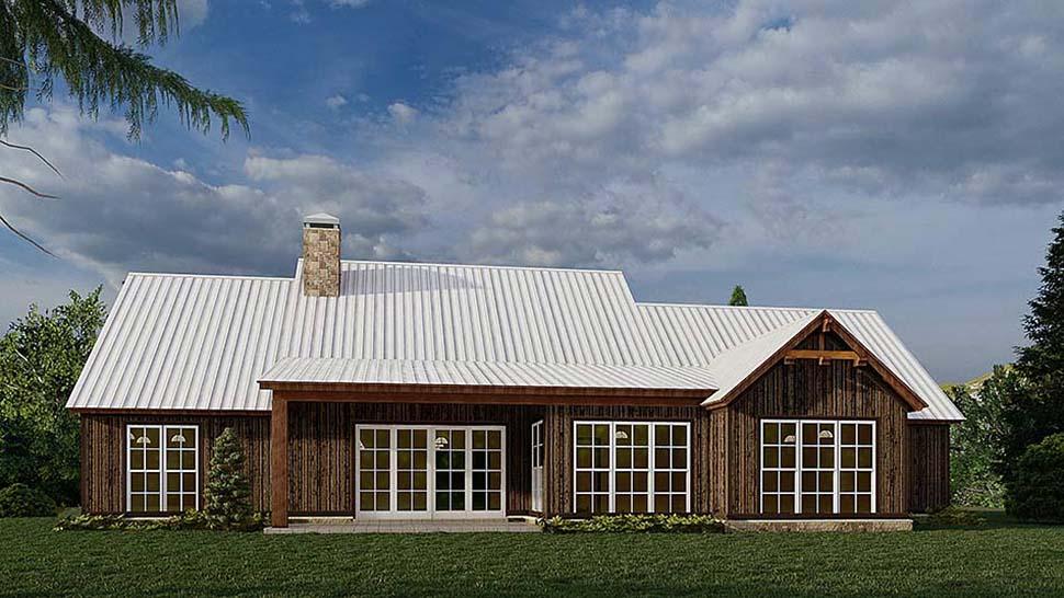 Bungalow, Craftsman, Farmhouse House Plan 82584 with 4 Beds, 3 Baths, 3 Car Garage Rear Elevation