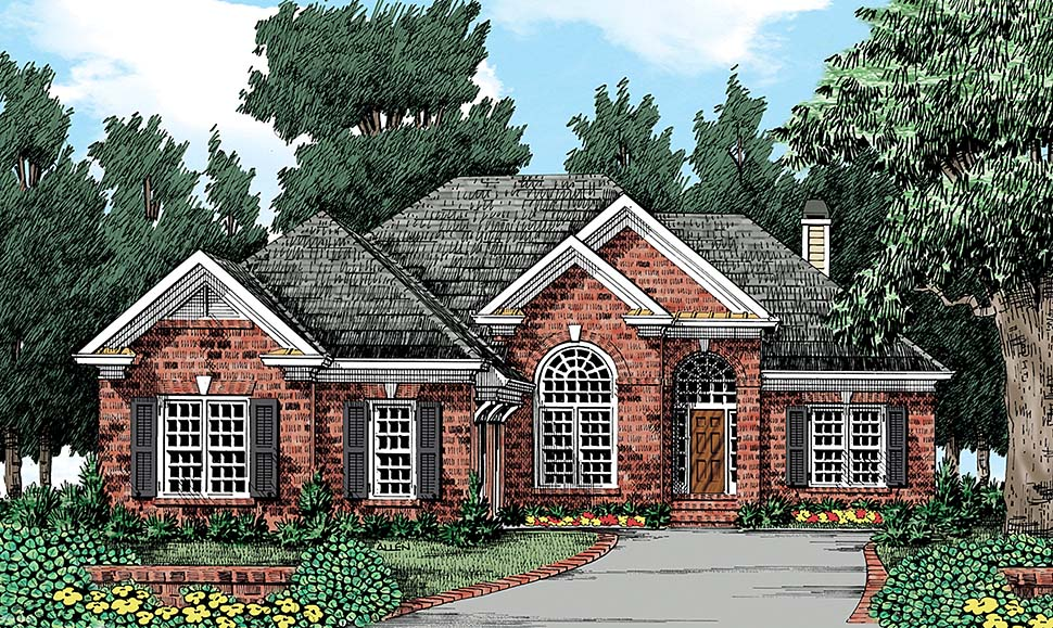 European, Traditional House Plan 83003 with 3 Beds, 4 Baths, 2 Car Garage Elevation
