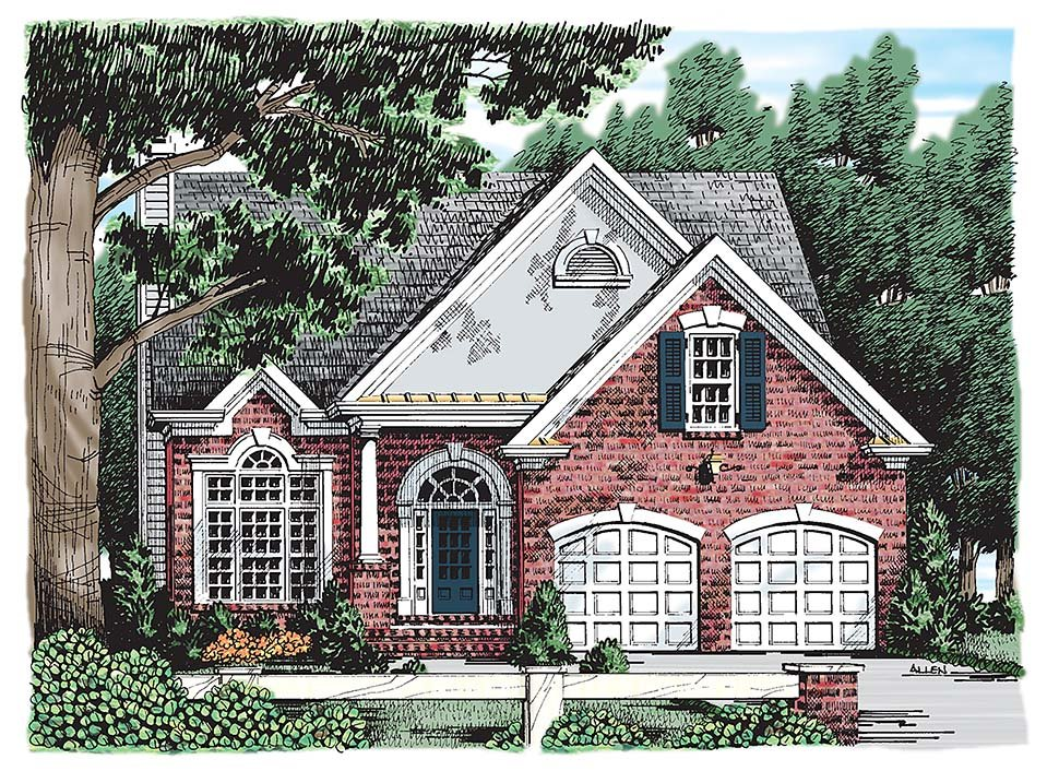 Colonial, Southern, Traditional House Plan 83010 with 3 Beds, 3 Baths, 2 Car Garage Elevation