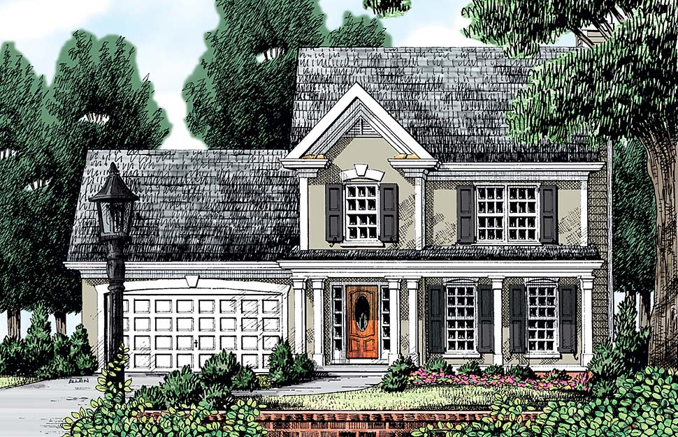 European, Traditional, Victorian House Plan 83013 with 3 Beds, 3 Baths, 2 Car Garage Front Elevation