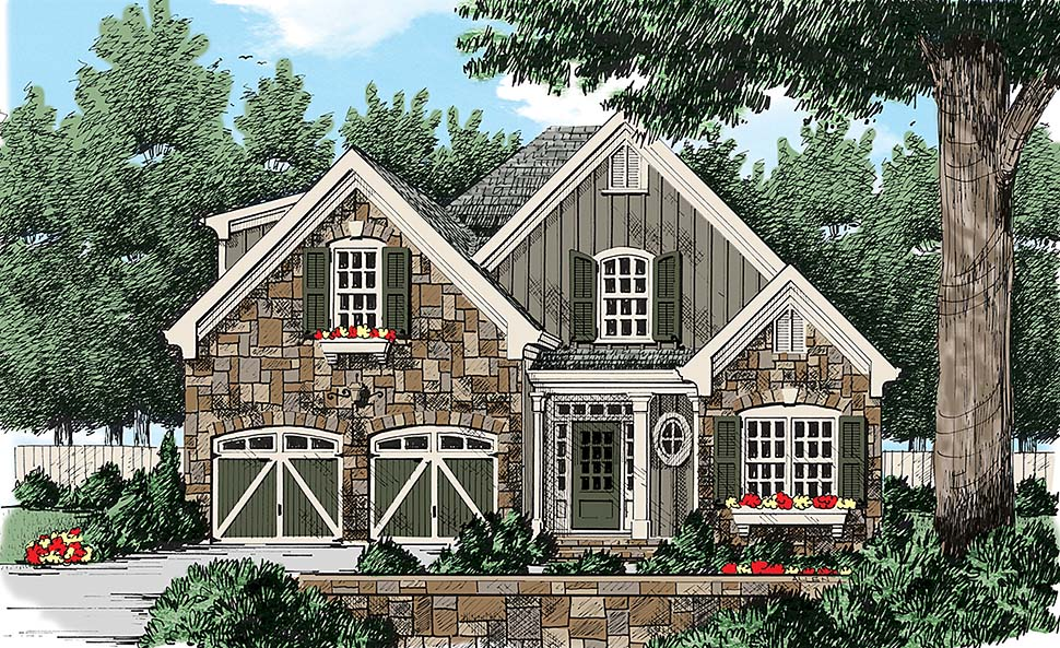 Colonial, European, French Country, Southern, Traditional, Tudor House Plan 83018 with 4 Beds, 3 Baths, 2 Car Garage Elevation