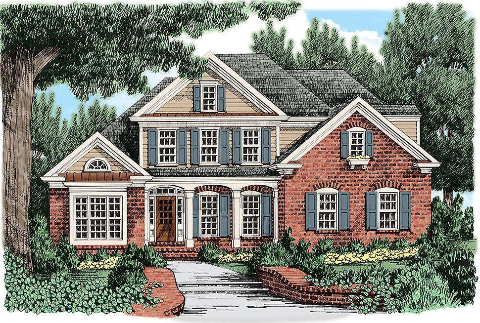 European, Traditional House Plan 83023 with 4 Beds, 3 Baths, 2 Car Garage Front Elevation