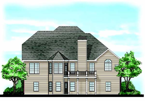 European, Traditional House Plan 83023 with 4 Beds, 3 Baths, 2 Car Garage Rear Elevation