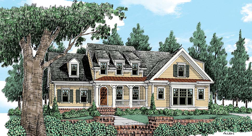Country, European, Farmhouse, Victorian House Plan 83024 with 4 Beds, 4 Baths, 2 Car Garage Front Elevation