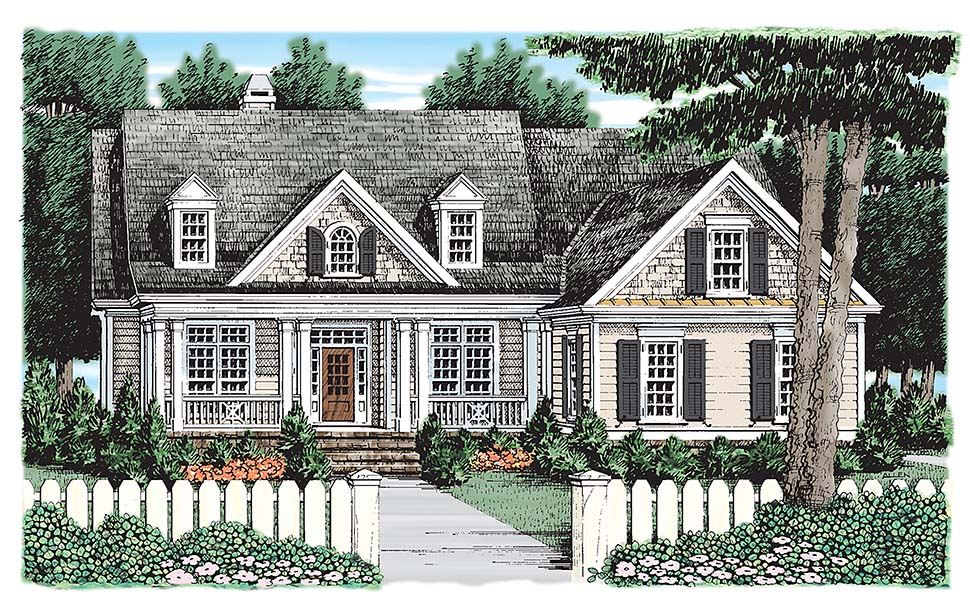 Colonial, Cottage, Country House Plan 83065 with 4 Beds, 3 Baths, 2 Car Garage Elevation