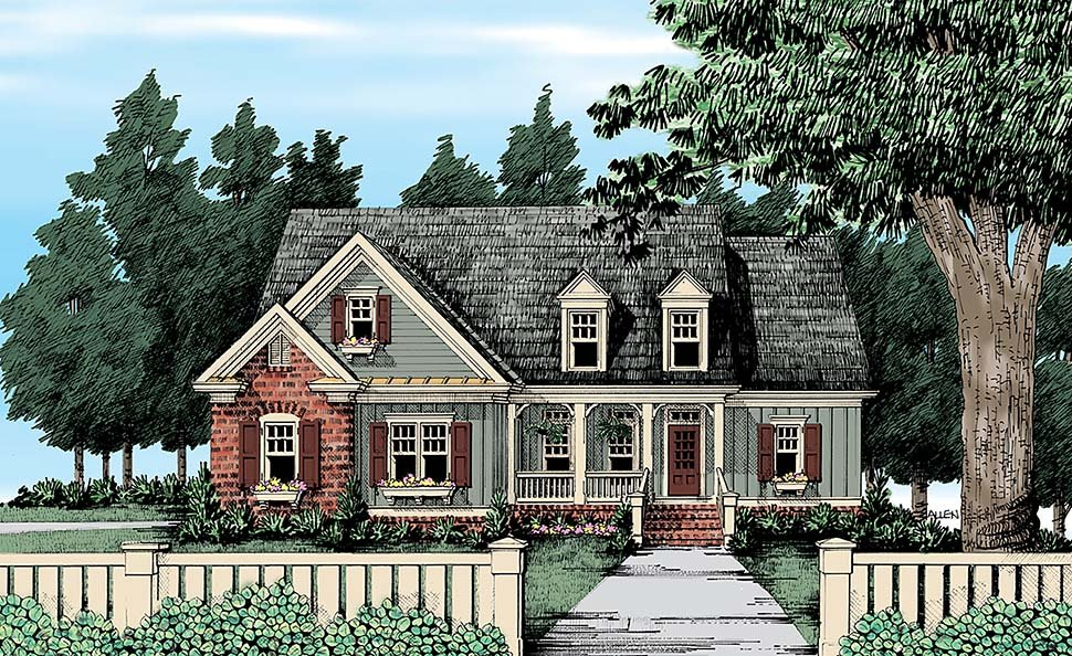 Cape Cod, Country, Traditional House Plan 83079 with 4 Beds, 3 Baths, 2 Car Garage Front Elevation